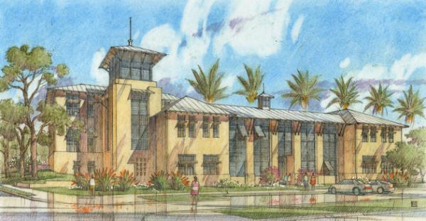 Front Elevation Of Small Building : New college of florida breaks ground on academic center